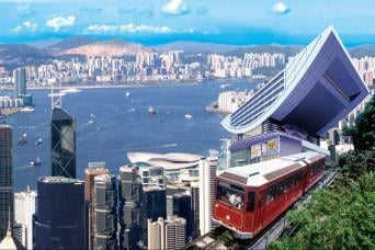 Tram with view from mountain on Hong Kong city tour