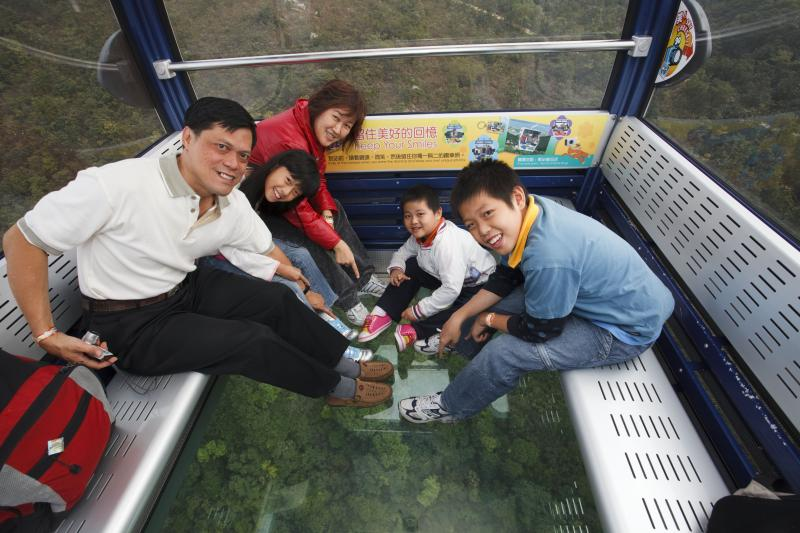 Glass bottom cable car on Lantau tour from Hong Kong, China