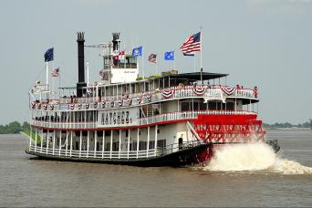 Steamboat going down the river on a sightseeing tour