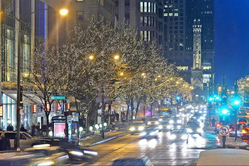 View of Chicago Holiday Lights