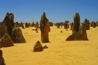 Pinnacles pillars seen on 4x4 Perth tour