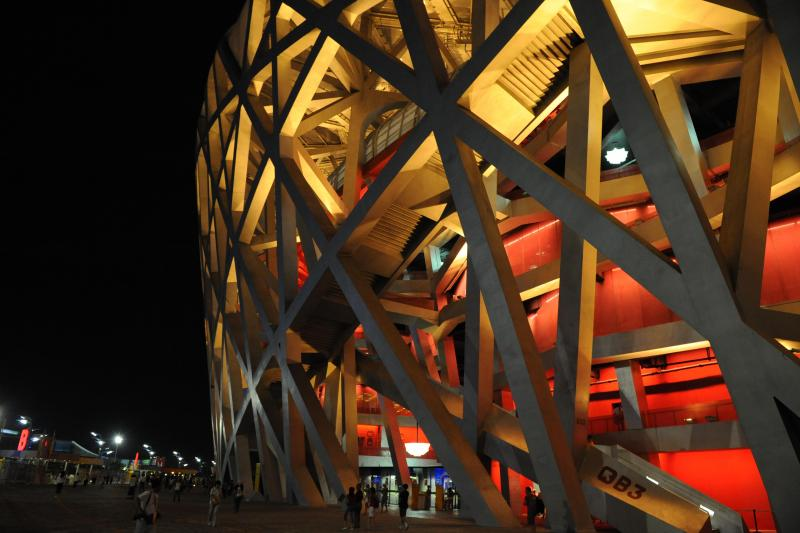 Illuminated Bird's Nest seen on Beijing Olympic venues tour